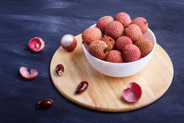 Lychee in a white plate