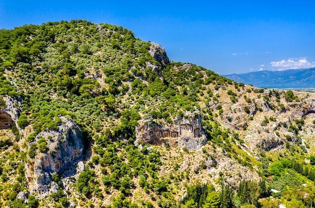 Lycian rock-cut tombs at dalyan, kaunos in turkey