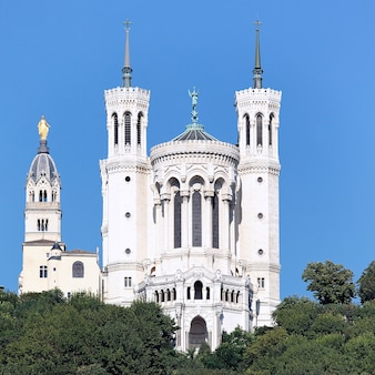 Lyon basilica in the big blue sky