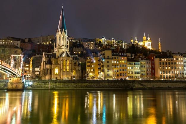 Lyon church night