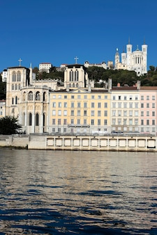 Lyon city with rhone river and basilica
