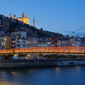 Lyon city with saone river at night, france