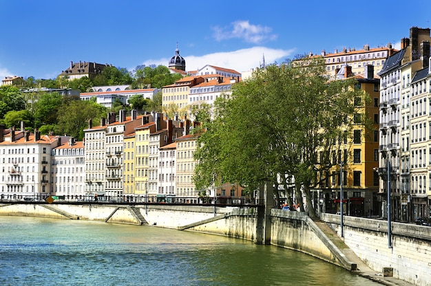 Lyon view river promenade