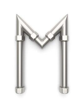 Алфавит из металлической трубы, буквенный m 3d-рендеринг
