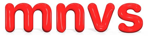泡の光沢のある赤いペンキ文字m、n、v、sを設定します。
