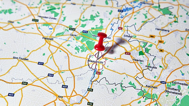 Maastricht, netherlands on a map showing a colored pin