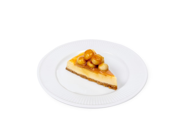 Macadamia cheese cake on whitebackground