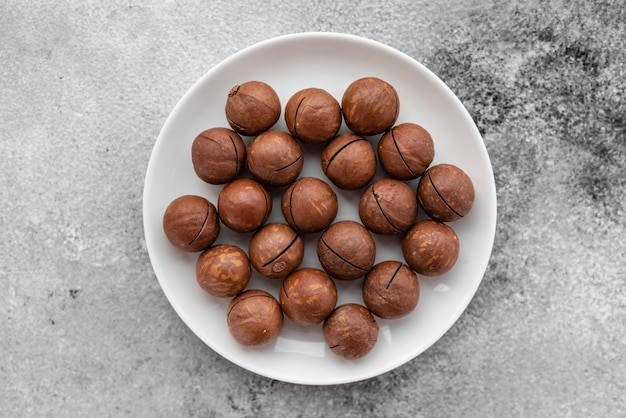 Macadamia nuts close up. breakfast, healthy food. it can be used as a background