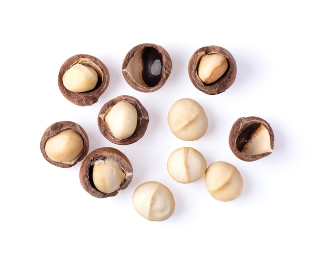 Орехи макадамия, изолированные на белом