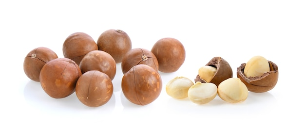 Macadamia nuts isolated on white.