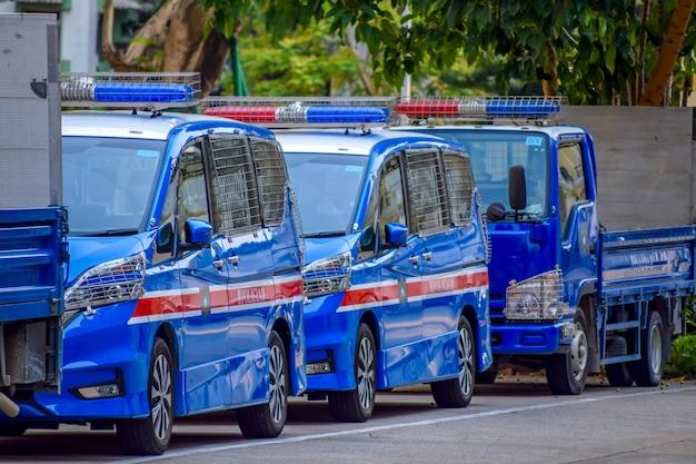 마카오, 중국 - 2020년 4월 2일: 거리의 마카오 경찰 휘발유차