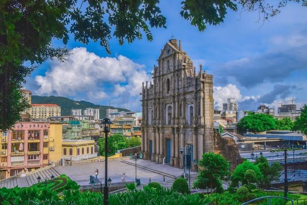 마카오 세인트 폴 대성당 유적. 1582년부터 1602년까지 예수회에 의해 건축되었습니다.
