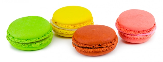 Macaron or macaroon,. colorful almond cookies on dessert top view