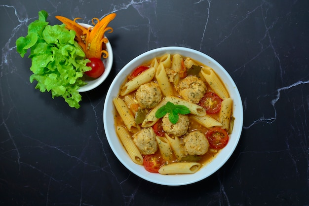 Macaroni chicken meatballs soup italian food style