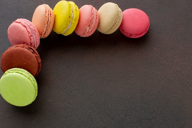 Macarons assortment with copy space