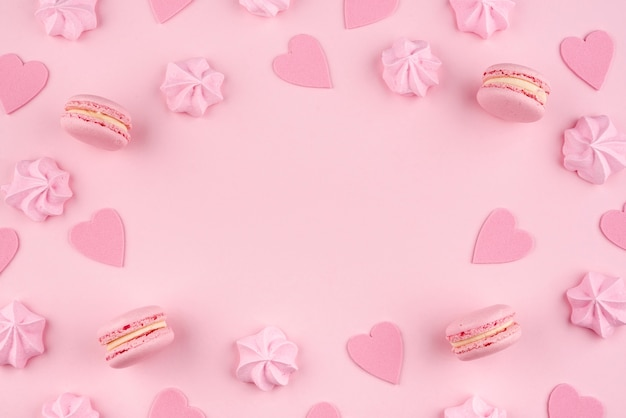 Macarons and meringue for valentines day