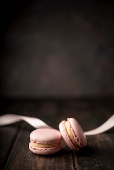 Macarons with ribbon and copy space
