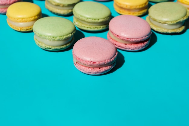 Macaroons on blue background