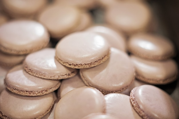 Macaroons shells in a tray