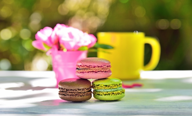 Macaroons on a white table