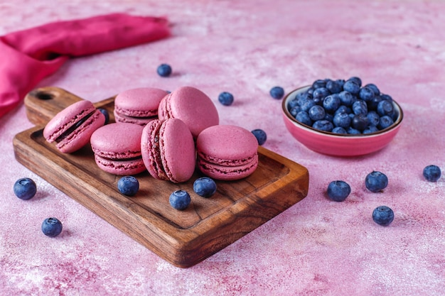 Macaroons with blueberries.