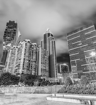 Macau, china - april 2014: city skyscrapers and casinos at night. macau attracts 20 million people annually.