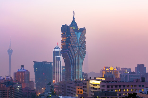 Macau cityscape at twilight, all hotel and casino are colorful lighten up, macau, china.