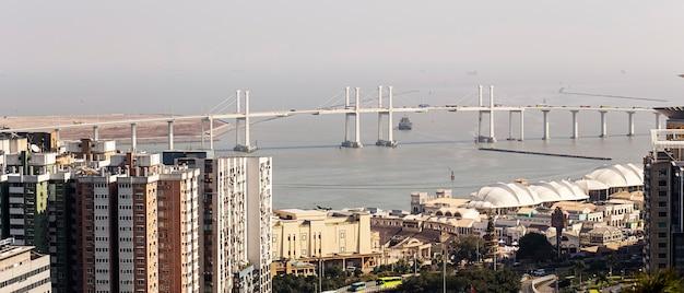 Мост макао-тайпа, панорамный городской пейзаж