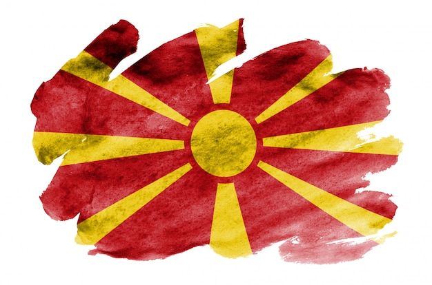 Macedonia flag is depicted in liquid watercolor style isolated on white