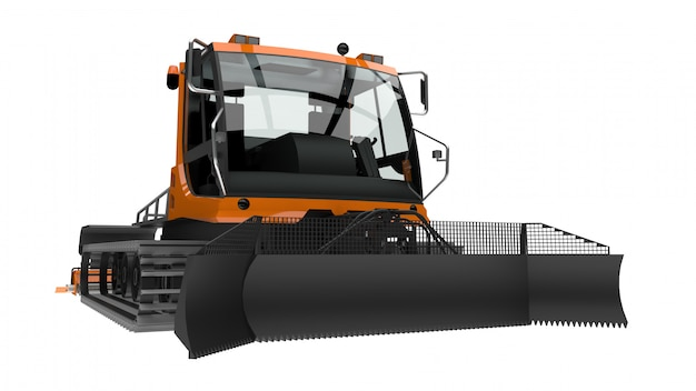 Machine for clearing the ski slopes on a white isolated background. 3d rendering.