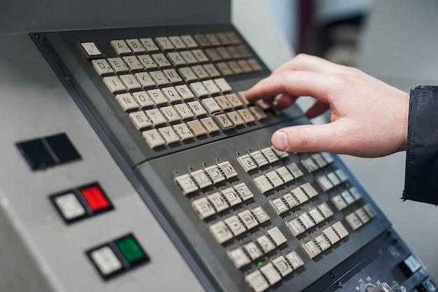Machine control panel cnc. metalworking  milling machine. cutting metal modern processing