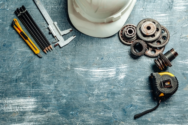 Machine engineer tools set on dark wooden