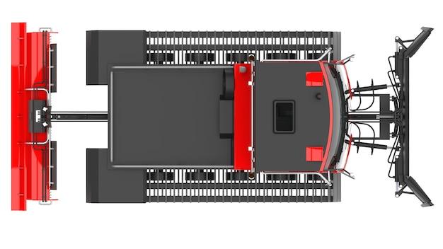 흰색 격리된 배경에서 스키 슬로프를 지우는 기계. 3d 렌더링.