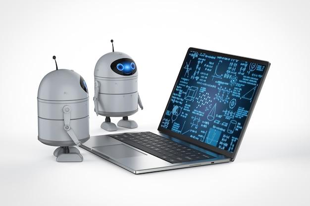 Концепция машинного обучения с 3d-рендерингом робота android с математической формулой