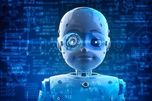 教育用グラフィックインターフェイスを備えた3dレンダリングのかわいいロボットまたは人工知能ロボットを備えた機械学習の概念
