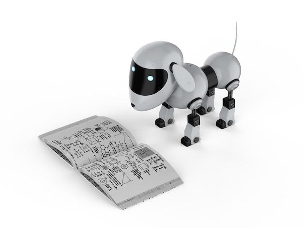Концепция машинного обучения с 3d-рендерингом собачьего робота, читающего книгу