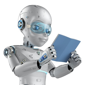 Machine learning concept with 3d rendering friendly robot reading a book