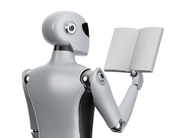 Machine learning concept with robot and stack of books