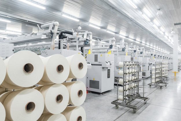 Machinery and equipment in the workshop for the production of thread industrial textile factory