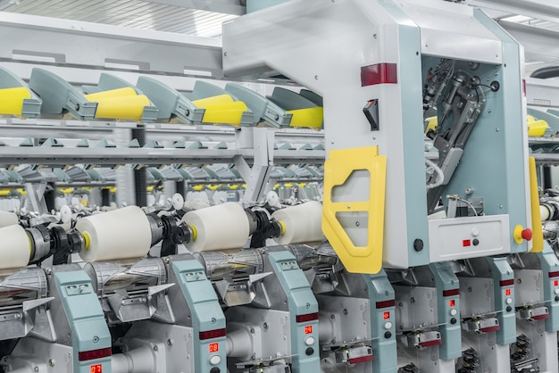 Machinery and equipment in the workshop for the production of thread ndustrial textile factory