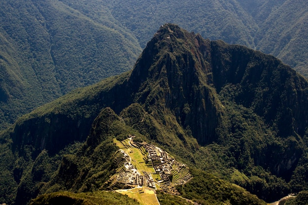 Machu picchu and huayna picchu panoramic drone view from the mountain