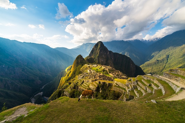 Machu picchu illuminated by the warm sunset light. wide angle view from the terraces above with scenic sky and sun burst.