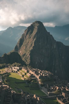 Machu picchu on the mountain ridge view from above