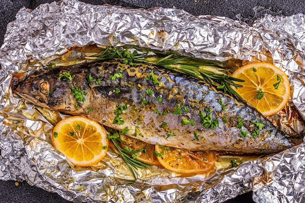 Mackerel baked in foil with spices, top view