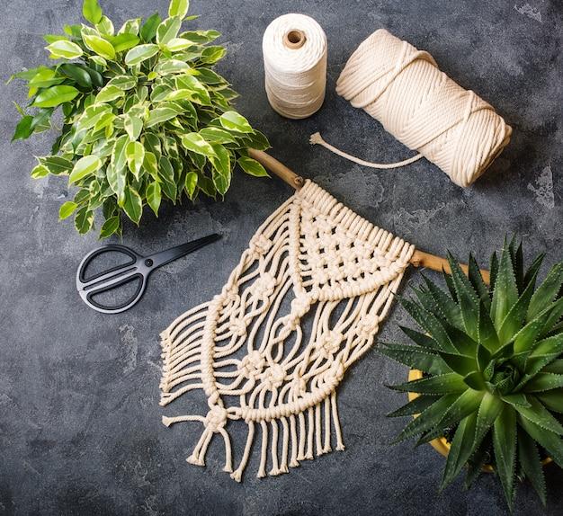 Macrame, handmade macrame for home decoration, creative hobby layout