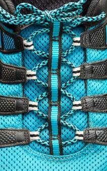 Macro of blue shoelaces