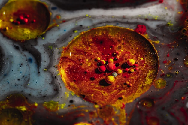 Macro of colored space. beautiful texture abstraction of liquid under magnification. macro photo