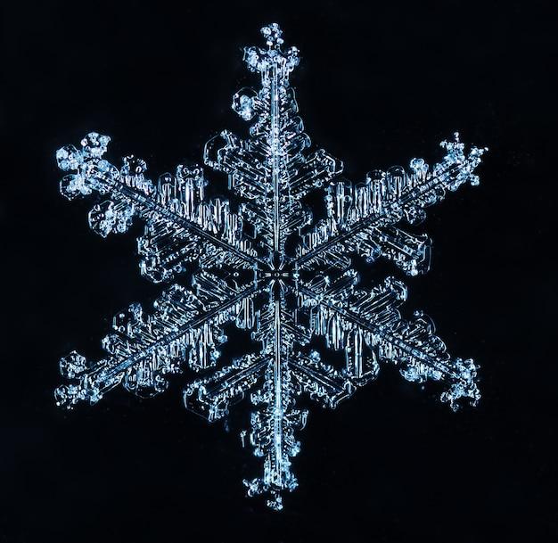 Macro of frozen little snowflake