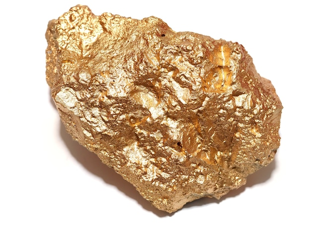 Macro gold ore in the boulder , precious stone