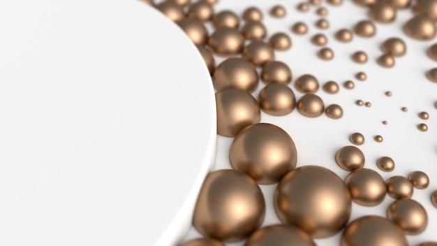 Macro of golden spheres near clean white podium